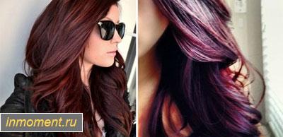 Тёмный цвет волос с красным отливом