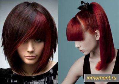 Темные волосы с красным отливом
