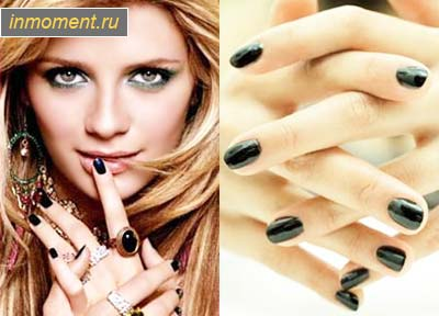Выбирая модный маникюр черного цвета, обратите внимание на разнообразные рисунки на ногтях.