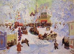 На улицах проходили гуляния, работали ярмарки с палаткамИ, где продавались блины.