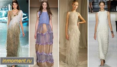 Платье с бахромой длинное